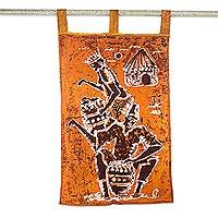 Cotton batik wall hanging, 'Drummers' - Orange Batik Wall Hanging of African Drummers