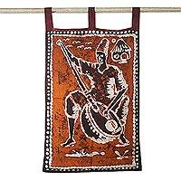 Cotton batik wall hanging, 'Happy Man' - Music-Themed Cotton Batik Wall Hanging