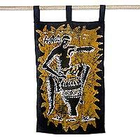 Cotton batik wall hanging, 'Drumming Man' - Drumming Man Cotton Batik Wall Art