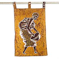 Cotton batik wall hanging, 'Sweet Mother' - West African Cotton Batik Wall Hanging