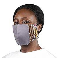 Cotton patchwork face mask, 'Courageous Colors' - Ghanaian Cotton Patchwork 2-Layer Tie on Face Mask