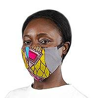 Cotton patchwork face mask, 'Bold Colors' - Grey Ghanaian Cotton Patchwork 2-Layer Ear Loop Face Mask