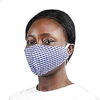 Cotton face mask, 'Gingham Blue' - Blue & White Cotton Gingham 2-Layer Elastic Loop Face Mask