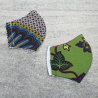 Cotton face masks 'Positivity' (pair) - Two African Print Cotton Face Masks