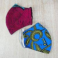 Cotton face masks 'Bright Horizons' (pair) - 1 Red & 1 Blue Double Layer African Cotton Print Face Masks