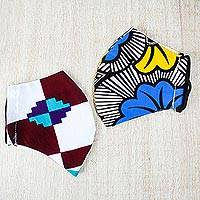 Cotton face masks 'Brave Beauty' (pair) - 2 Double Layer Face Masks in Bold Cotton Prints