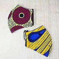 Cotton face masks 'Fountain of Color' (pair) - Pair of Brightly Colored African Print Cotton Face Masks