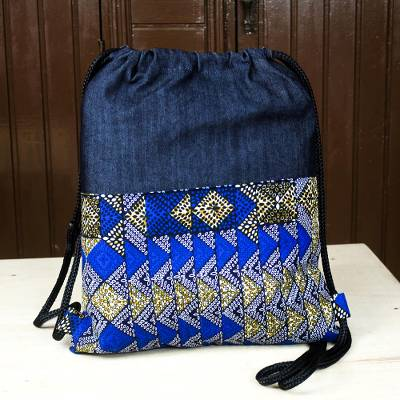 Cotton backpack, 'Denim Blues' - Casual Cotton Backpack in Solid and Print Blue Fabric