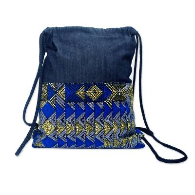 Casual Cotton Backpack in Solid and Print Blue Fabric