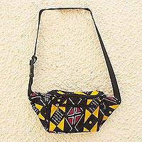Cotton waist bag, 'African Geometry' - West African Zippered Waist Bag Adjustable Strap