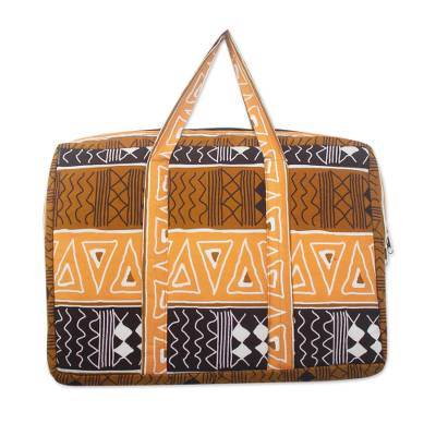 Padded Lined Cotton Laptop Bag in Spice Brown