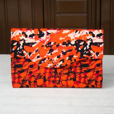 Cotton clutch, 'Donowa' - Bright Orange, Black and Red Cotton Clutch