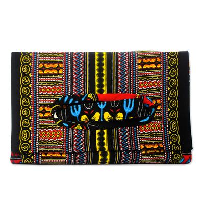 Bold Black Print Cotton Clutch Handbag from Ghana