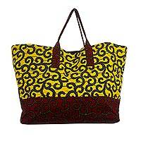 Cotton tote bag, 'Macaroni Beach' - Yellow and Red Cotton Tote Bag from Ghana