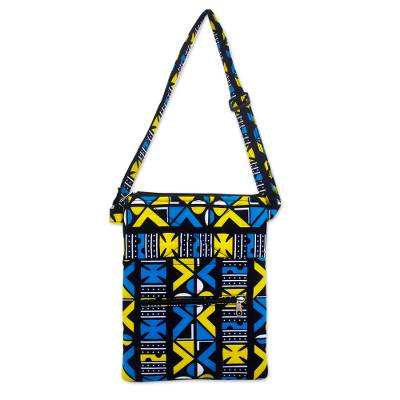 Bright Blue and Yellow Cotton Shoulder Bag