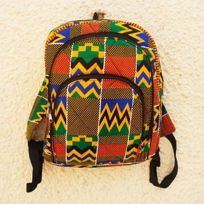 Cotton backpack, 'Ashanti Pride' - Bold Cotton Ashanti Backpack with Inner Pockets