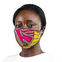Cotton face mask, 'Optimistic Colors' - Ghanaian Bright Cotton Print 2-Layer Contoured Face Mask