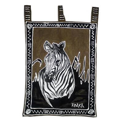 Hand-painted cotton wall hanging, 'Zebra' - Zebra Themed Cotton Wall Hanging