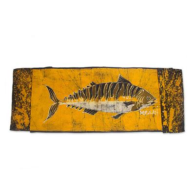 Fish Themed Batik Cotton Table Runner from Ghana