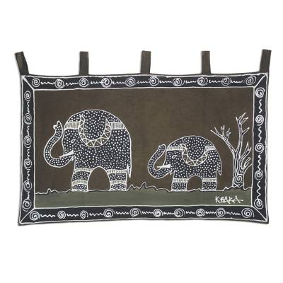 Artisan Crafted Wall Hanging with Elephant Motif