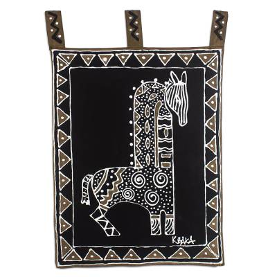 Hand Painted Cotton Horse-Themed Wall Hanging