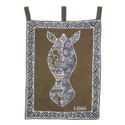Horse Motif Hand Painted Cotton Wall Hanging