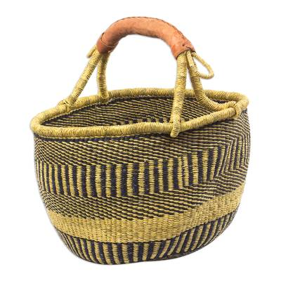 Hand Woven Raffia and Leather-Accented Basket