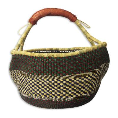 Hand Woven Multicolored Shopping Basket
