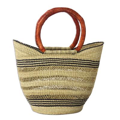 Dark Blue and Natural Raffia Shopping Basket