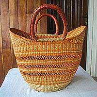 Raffia basket tote bag, 'Bawku Orange' - African Artisan Made Raffia Basket Tote