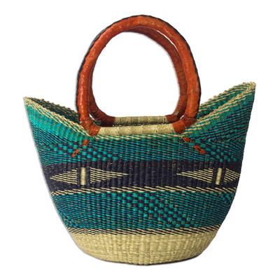 African turquoise raffia basket