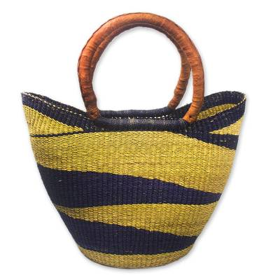 Handcrafted Raffia and Leather Basket Tote Bag