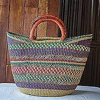 Raffia basket tote bag, 'Bawku Beauty' - African Woven Raffia Basket Tote Bag