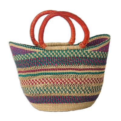 African Woven Raffia Basket Tote Bag