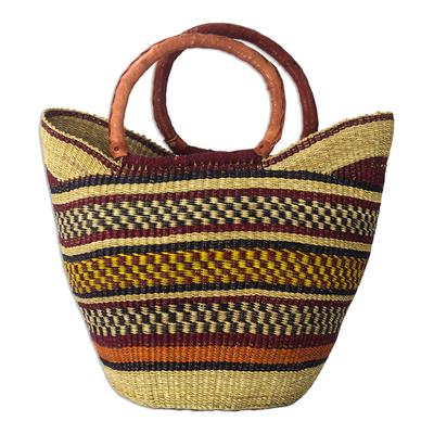 Artisan Crafted Multicolored Raffia Shopping Basket