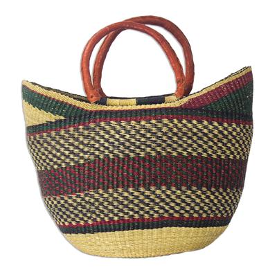 Colorful Hand Woven Raffia Basket Bag from Ghana