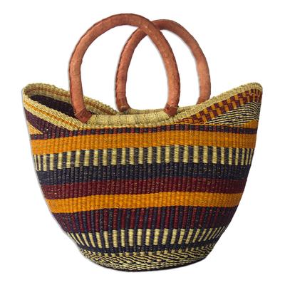 striped raffia shopping basket