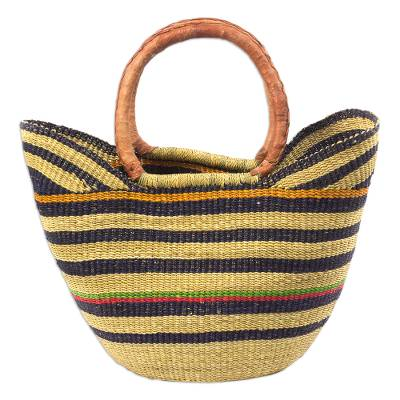 Striped Raffia and Leather-Accented Basket