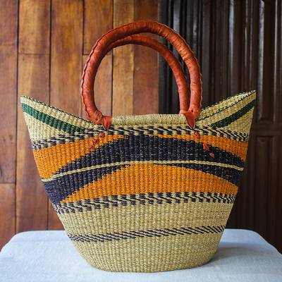 Raffia basket tote bag, 'Bawku Pride' - Raffia Basket Style Beach or Shopping Tote Bag