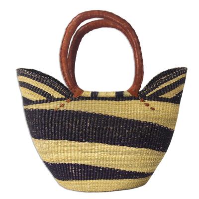 Artisan Crafted Purple Striped Raffia Basket Tote Bag