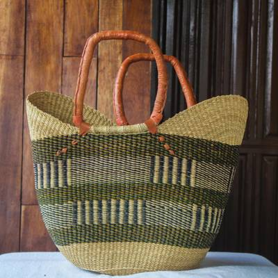 Woven raffia basket tote bag, 'Mother's Basket' - Ghanaian Woven Raffia Basket Tote Bag