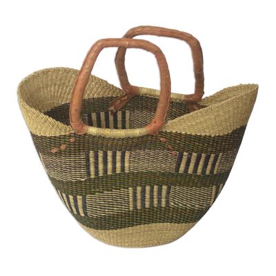Ghanaian Woven Raffia Basket Tote Bag