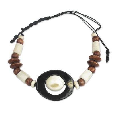 Beaded unity bracelet, 'Be as One' - Brown & Ivory African Beaded Unity Bracelet from Ghana