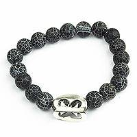 Agate unity bracelet, 'Together With You' - Black Agate African Adinkra Unity Bracelet from Ghana