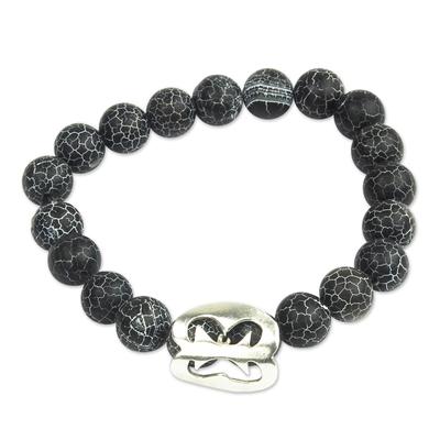 Black Agate African Adinkra Unity Bracelet from Ghana