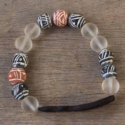 Beaded unity bracelet, 'Together in Fellowship' - African Beaded Terracotta Unity Bracelet from Ghana