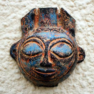 Ceramic wall art, 'Half Horn' - Hand Crafted Ceramic Mask Wall Art from Africa