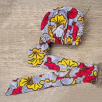 African print head wrap, 'Falling Flowers' - Hand Woven Cotton Flower Head Wrap from Africa