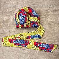African print head wrap, 'Sunny Day' - Hand Made African Print Cotton Head Wrap