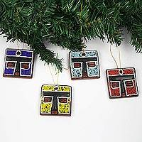 Wood and recycled glass bead holiday ornaments, 'Fante Head' (Set of 4) - Handmade Sese Wood Holiday Ornaments (Set of 4)